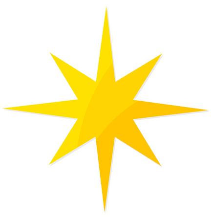 yellow star: Christmas yellow star flat design icon illustration