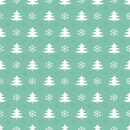 repetition row: Christmas trees and snowflakes pattern. Vector illustration Illustration