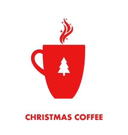 Kerstmis warme koffie of thee in rode mok. Vector illustratie