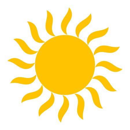 Yellow sun shining vector illustration icon