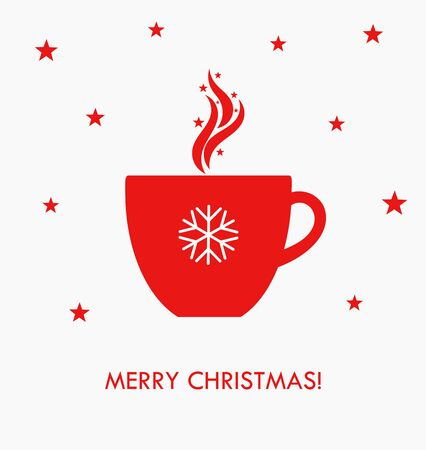 hot cup: Christmas hot coffee in red cup. Vector illustration