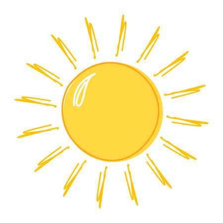 Doodle sun drawing icon. Vector illustration Vettoriali