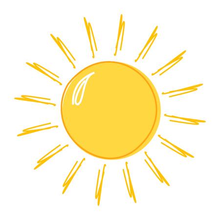 insignias: icono de dibujo Doodle sol. ilustración vectorial Vectores