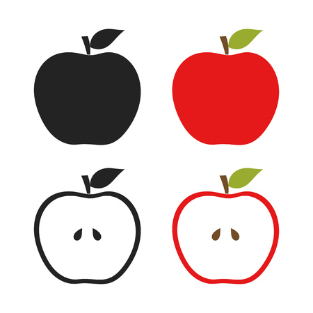 simple cross section: Icons of apples set illustration