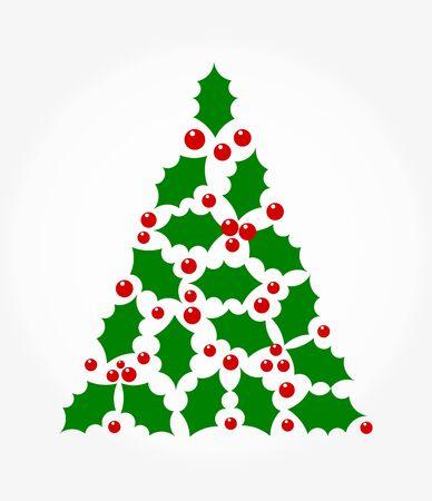 holly berry: Christmas tree shape holly berry illustration Illustration
