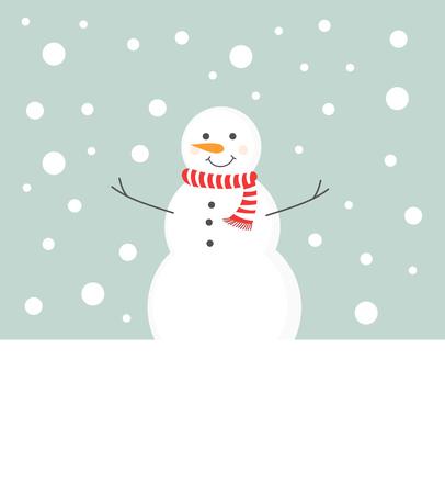 winter scenery: Snowman in scarf in winter scenery background