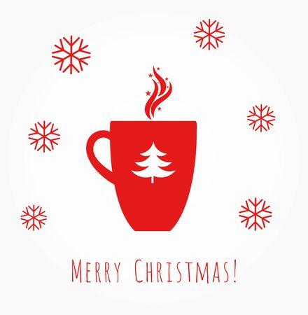 Red Christmas coffee mug illustration