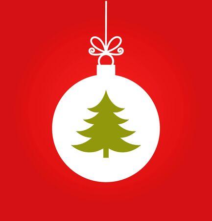 christmas tree ball: Christmas tree ball ornament on red background illustration