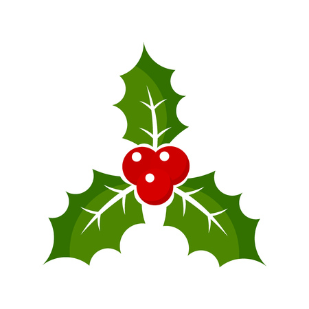 holly berry: Christmas holly berry icon illustration Illustration