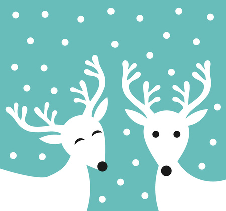 female animal: Winter white reindeer couple illustration