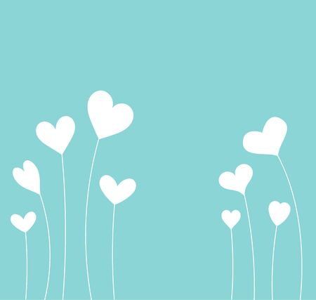 white day: White hearts on blue background. Valentines Day card
