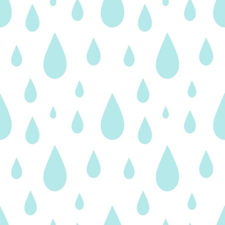 Blue rain drops seamless pattern illustration