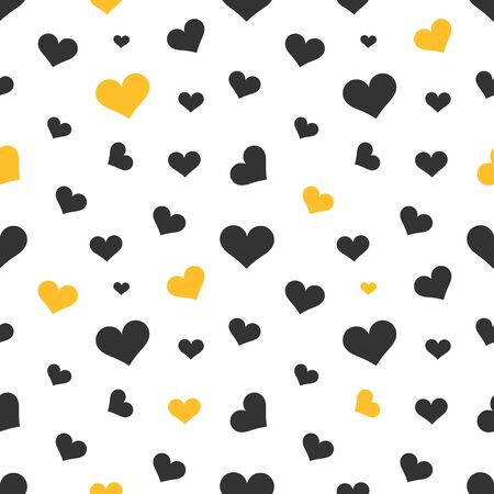 heart month: Black and yellow hearts seamless pattern. Vector illustration Illustration