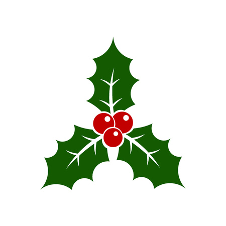 christmas symbol: Christmas holly berry plant symbol illustration
