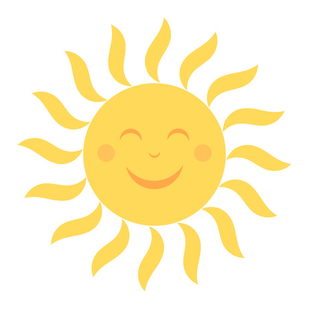 smile happy: Happy sun icon with smile illustration
