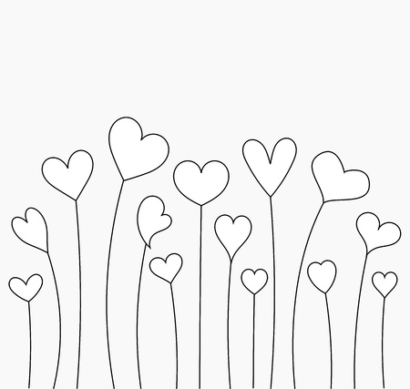 Growing hearts for coloring. Valentines Day illustration