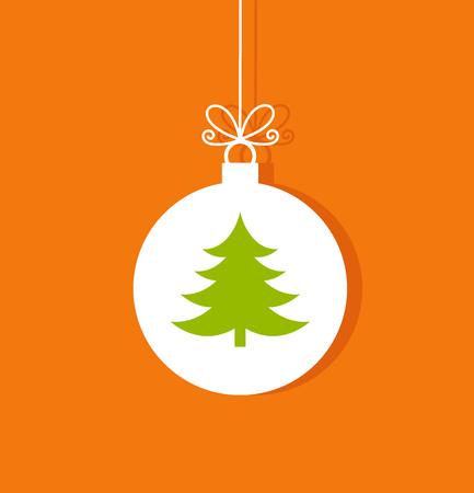 christmas tree ball: Christmas tree ball ornament on orange background illustration