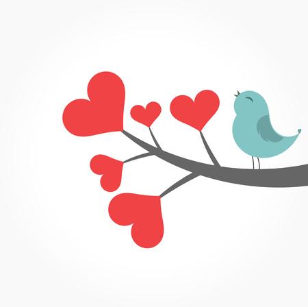Leuke blauwe vogel zingen op hart taktak. Valentijnsdag illustratie