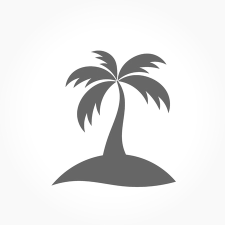 caribbean beach: Palm tree icon. Vector illustration