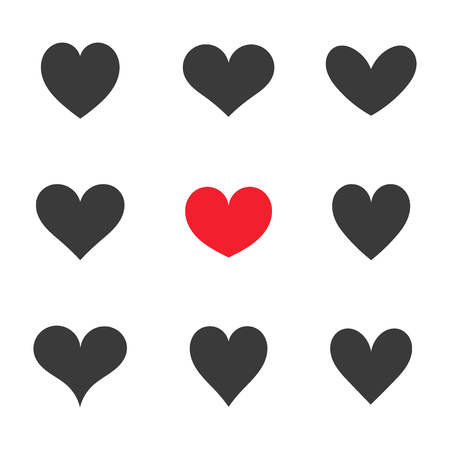 Hearts icons collection. Black and red heart vector illustration