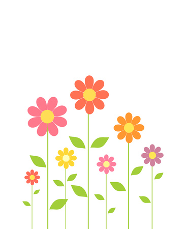 campo de flores: Spring colorful flowers growing. Vector illustration