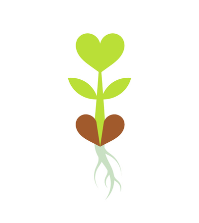 Sprouting little plant with heart shaped leaves. Vector illustration Illustration