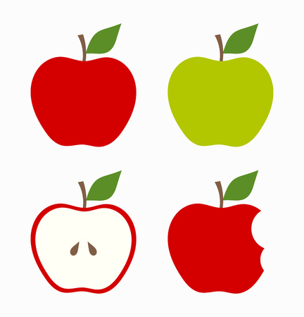 Red and green apples. Vector illustration