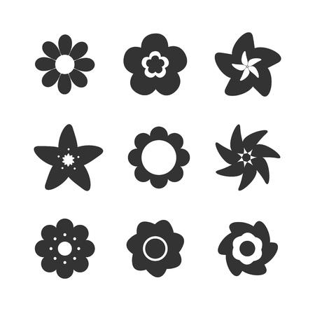 silhouette fleur: Set of flower shape icons. Vector illustration Illustration