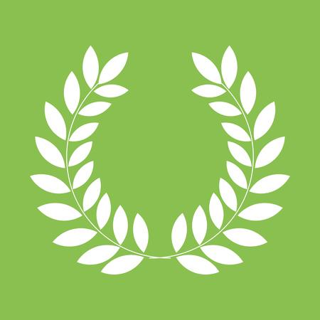 laurel leaf: White laurel leaf wreath on green background. Vector illustration Illustration
