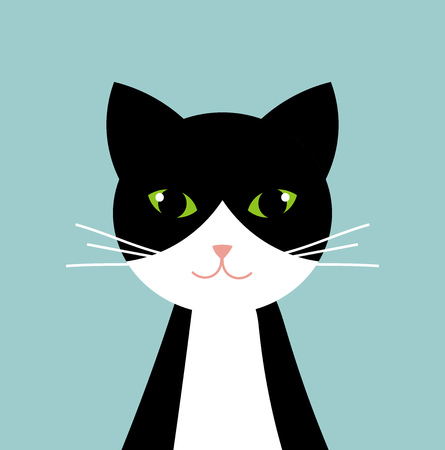 Black and white cat portrait. Vector illustration