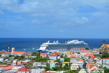 cruising: GRENADA, CARIBBEAN - MARCH 25, 2017 : Royal Princess ship in Saint George port. Royal Princess is operated by Princess Cruises line and has a capacity of 3600 passengers Editorial
