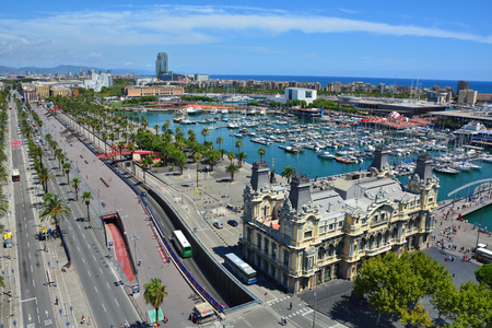 BARCELONA, SPAIN - AUGUST 10, 2015 : Top view of Barcelona marina and Passeig de Colom street Editorial