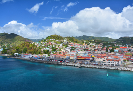 그레나다, 카리브해에서 Sain 조지 도시 포트 스톡 콘텐츠