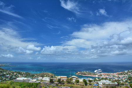 Scenic landscape of Grenada, St George town. Blue sky Stock Photo