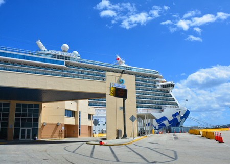 FORT LAUDERDALE, USA - MARCH 20, 2017 : Royal Princess ship docked in Port Everglades in Fort Lauderdale. Royal Princess ship is operated by Princess Cruises line and has a capacity of 3600 passengers Editorial