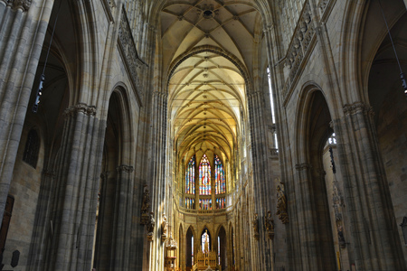 PRAGUE, CZECH REPUBLIC - JUNE 08, 2017 : Interior of St Vitus cathedral in Prague