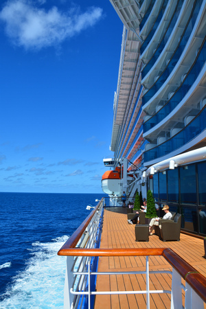 ROYAL PRINCESS, CARIBBEAN SEA - MARCH 29, 2017 : Open deck of Royal Princess ship. Royal Princess ship is operated by Princess Cruises line and has a capacity of 3600 passengers