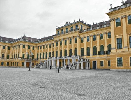 schloss schonbrunn: VIENNA, AUSTRIA - MAY 03, 2016 : Entrance to the Shonbronn palace in Vienna. Shonbronn is a former summer residence of Habsburg monarchs