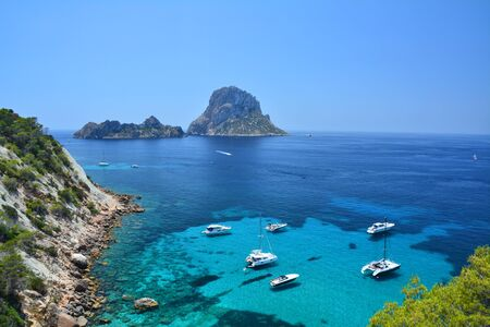 vedra: Es Vedra island, scenic view from Ibiza Stock Photo