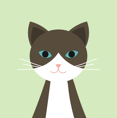 Brown and white cat with blue eyes portrait. Vector illustration