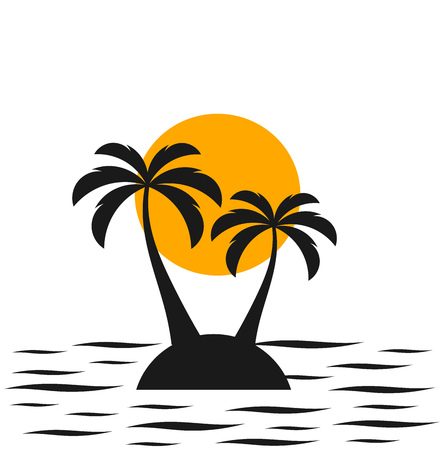 Two palm trees on the island. Sea and sunset Illustration