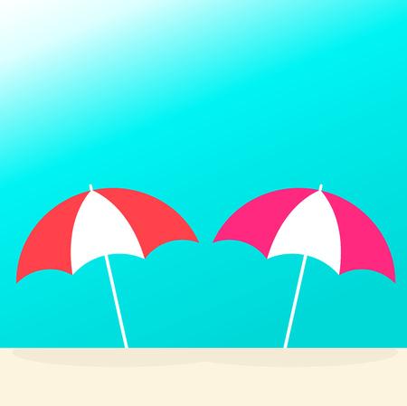 Sun umbrellas on the beach. Vector illustration Illustration