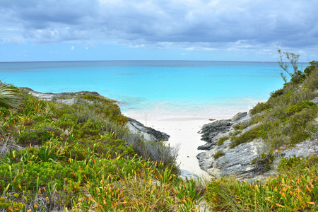 White sand beach bay on Eleuthera island, Bahamas Stock Photo