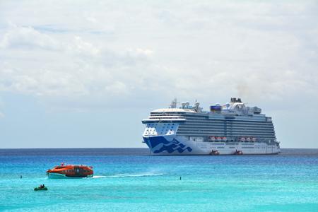 ELEUTHERA, BAHAMAS - MARCH 21, 2017 : View from Princess Cays on Royal Princess ship anchored at sea. Royal Princess is operated by Princess Cruises line and has a capacity of 3600 passengers