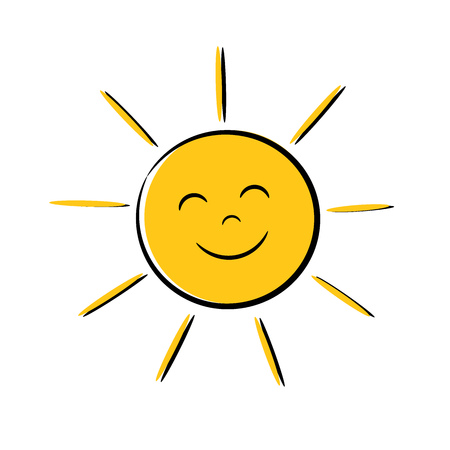 Happy sun icon with smile. Vector illustration