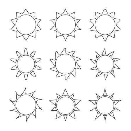 太陽ラインのアイコンのセット。ベクターイラスト  イラスト・ベクター素材