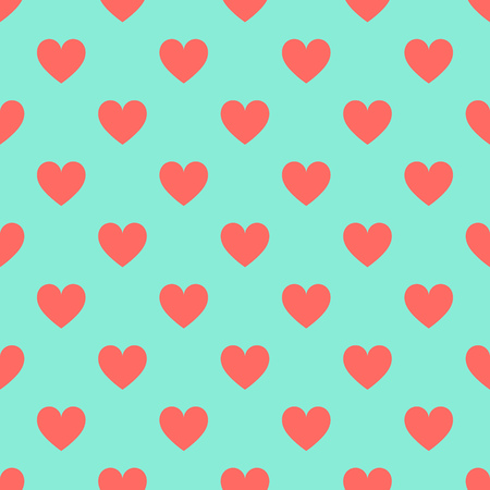 Red hearts on blue background seamless pattern. Vector illustration