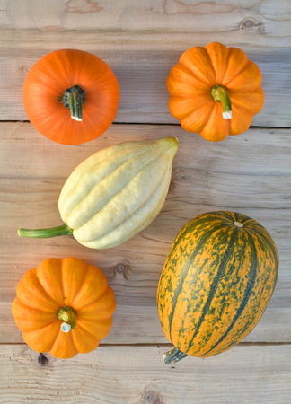 Little pumpkins on wooden background. Flat lay composition