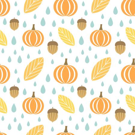Autumn seamless pattern. Leaves, acorns and pumpkins Illustration