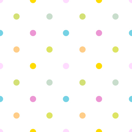 Colorful polka dot seamless pattern, white background